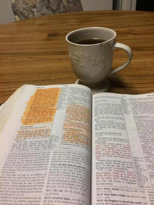 coffee cup and Bible